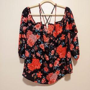 Forever 21 Plus cold shoulder floral strappy top